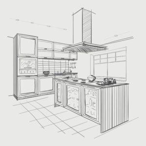 interior sketch of modern kitchen