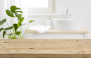 wooden countertops in a bathroom